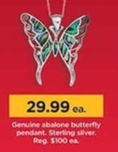 Genuine Abalone Butterfly Pendant