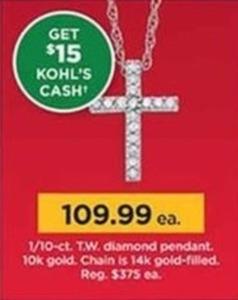 1/10-ct T.W. Diamond Pendant 10k Gold + $15 Kohl's Cash