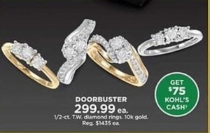 1/2 Ct Diamond Rings with $75 Kohl's Cash
