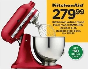 KitchenAid Artisan Stand Mixer Model KSM150PS (Get $60 Kohl's Cash)