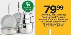 Food Network Stainless Steel Ceramic 10-pc Cookware Set with $15 Kohl's Cash After Rebate