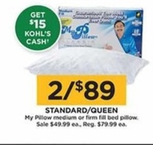 My Pillow Medium or Firm Fill Bed Pillow (Get $15 Kohl's Cash)