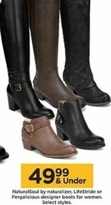 NaturalSoul by Naturalizer, Lifestride, or Fergalicious Designer Boots for Women