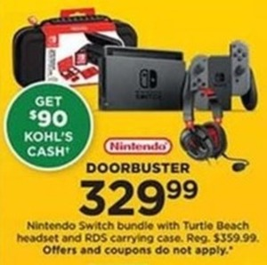 Nintendo Switch Bundle with Turtle Beach Headset and RDS Carrying Case with $90 Kohl's Cash