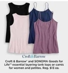 Croft & Barrow Essential Layering Tank Tanks or Camis - Kohls Cash