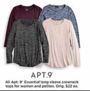 Apt. 9 Essential Long-Sleeve Crewneck Tops for Women and Petities