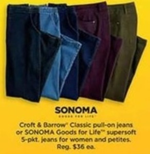 Croft & Barrow Classic PullOn Jeans or Sonoma Supersoft 5-Pkt Jeans Women and Petites