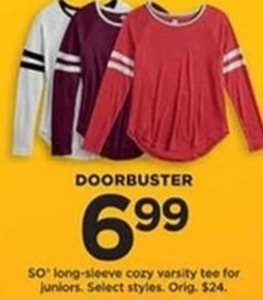 SO Long Sleeve Cory Varsity Tee For Juniors, Select Styles