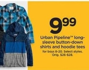 Boys Urban Pipeline Long Sleeve Button Down Shirts and Hoodie Tees