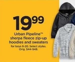 Urban Pipeline Sherpa Fleece Zip-Up Hoodies and Sweaters