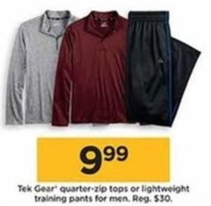 Tek Gear Quarter Zip Tops Or Lightweight Training Pants For Men