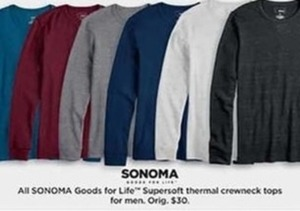 Men's Sonoma Supersoft Thermal Crewneck Tops