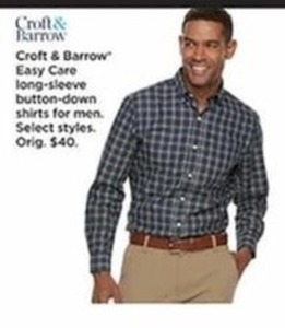 Croft Barrow Easy Care Long Sleeve Button Down Shirts For Men - Kohls Cash