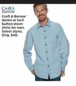 Men's Croft & Barrow Denim or Twill Button-Down Shirts