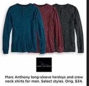 Marc Anthony Long-Sleeve Henleys  and Crew Neck Shirts for Men