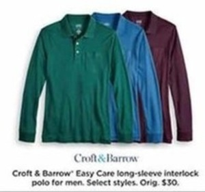 Croft & Barrow Easy Care Long Sleeve Interlock Polo For Men - Kohls Cash