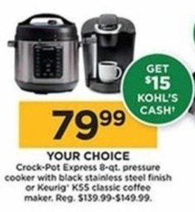Keurig KSS Classic Coffee Maker - $15 Kohls Cash