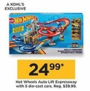 Hot Wheels Auto Lift Expressway With 5 Die Cast Cars