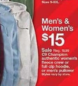 Champion Authentic Women's Fleece Crew or Full-Zip Hoodie