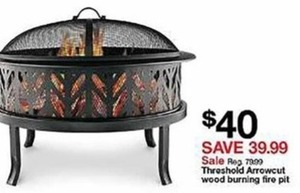 Threshold Arrowcut Wood Burning Fire Pit