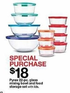 Pyrex 22-Pc. Glass Mixing Bowl & Food Storage Set w Lids