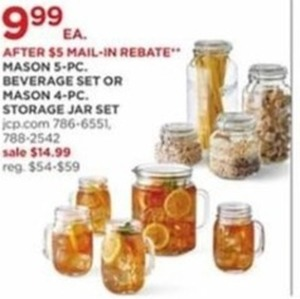 After Rebate - Mason 5 Pc Beverage Set Or Mason 4 Pc Storage Jar Set