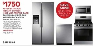 Samsung 4-Piece Gas Kitchen Package In Stainless Steel