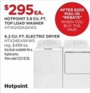 Hotpoint 3.8 Cu. Ft. Top Load Washer After Rebate w/ Pair Purchase