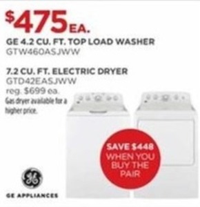 GE 4.2 Cu. Ft. Top Load Washer or 7