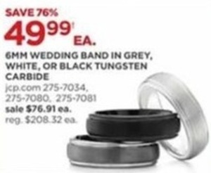 6 Mm Wedding Band In Grey White Or Black Tungsten Carbide