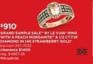 By Le Vian Ring Peach Morganite & 1/2 CT. T.W. Diamond 14k Strawberry Gold Ring