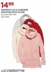 Women's Liz Claiborne Sweater w/ Scarf