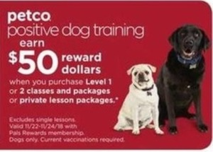 Petco Positive Dog Training Level 1 or 2 Classes & Packages or Private Lesson Packages