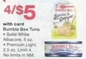 Bumble Bee Tuna- Solid White Albacore 5oz. or Prem. Light 2.5 oz. w/Card