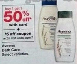Aveeno Bath Care w/Card =$5 Off Coupon