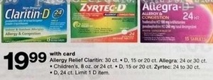 Allergy Relief, Claritin, Allergra, Children's, Zytec, w/ Card