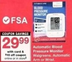Automatic Blood Pressure Monitor Walgreens w/Card+ $10 Coupon
