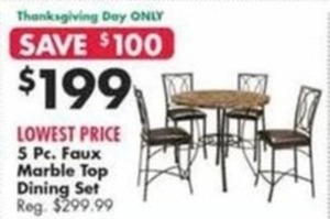 5 PC. Faux Marble Top Dining Set