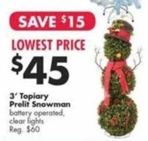 3' Topiary Prelit Snowman