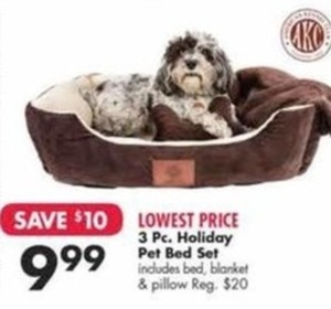 3 Pc. Holiday Pet Bed Set