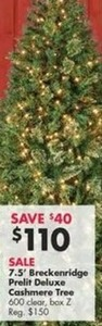 7.5' Breckenridge Prelit Deluxe Cashmere Tree