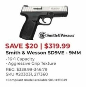 Smith & Wesson SD9VE 9 MM Hand Gun