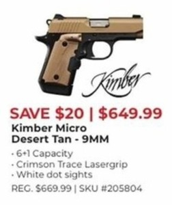 Kimber Micro Desert Tan 9 MM