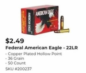 Federal American Eagle 22 LR Hollow Point Bullets