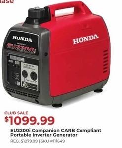 Honda EU2200i Companion Carb Compliant Portable Inverter Generator