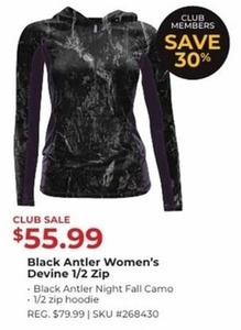 Black Antler Women's Devine 1/2 Zip Black Antler Night Fall Camo