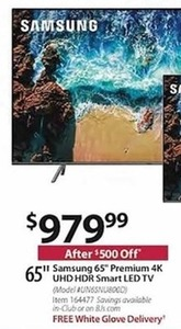 "Samsung 65"" Premium 4K UHD HDR Smart LED TV"