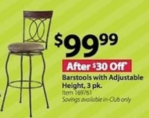 Barstools with Adjustable Height, 3 pk.