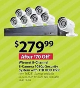 Wisenet 8 Channel 8 Camera 1080p Security System with 1TB HDD DVR