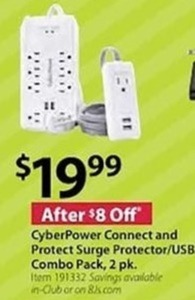 CyberPower Connect and Protect Surge Protector/USB Combo Pack